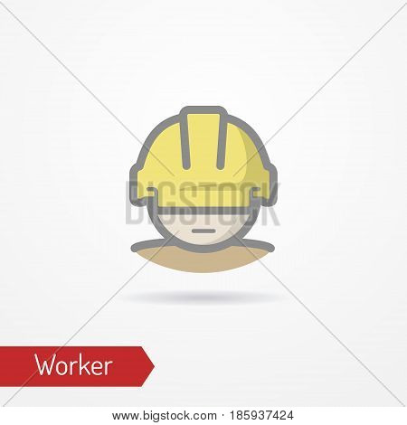 Typical simplistic worker face in professional helmet. Warehouse worker or builder head isolated icon in flat style with shadow. Profession and industrial vector stock image.