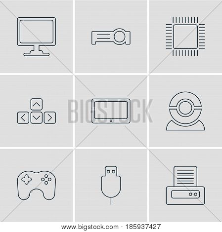 Vector Illustration Of 9 Notebook Icons. Editable Pack Of Serial Bus, Gamepad, Microprocessor And Other Elements.