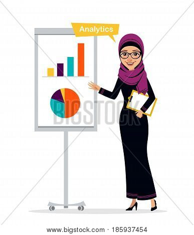 Arab business woman character with clipboard standing near flipchart. Woman is pointing to chart and diagram. Concept Analytics. Business character. Vector illustration