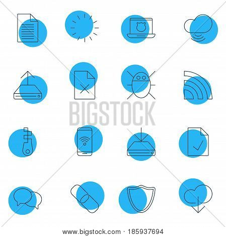 Vector Illustration Of 16 Network Icons. Editable Pack Of Chain, Telephone, Safeguard And Other Elements.