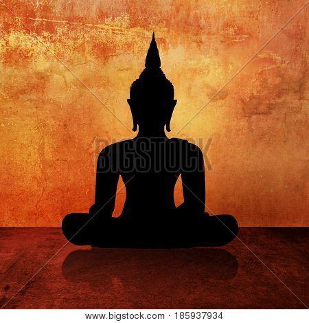 Buddha image silhouette painting