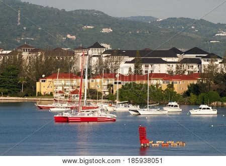 The view of Montego Bay resort town in a morning light (Jamaica).