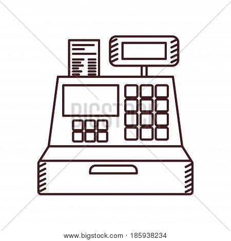 monochrome silhouette of cash register vector illustration