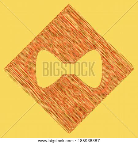 Bow Tie icon. Vector. Red scribble icon obtained as a result of subtraction rhomb and path. Royal yellow background.