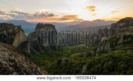 Meteora Sunset Scenery Greece