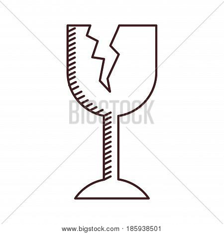 monochrome silhouette of fragile packaging symbol broken wine glass vector illustration