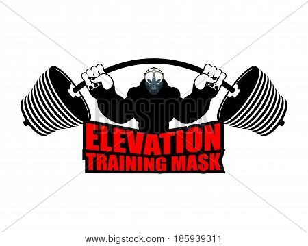 Elevation Training Mask Fitness. Athlete And Barbell. Emblem For Sports Accessory
