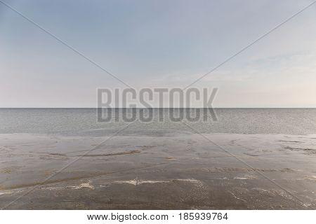 Natural wetland scene in tropical sea beach in Thailand.