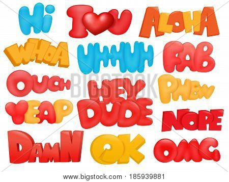 Set of dialog phrases in cartoon comic style. Vector illustration