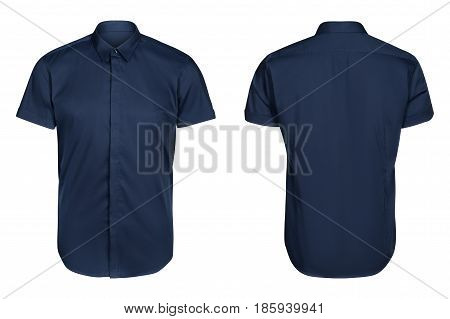 blue classic and business shirt, short sleeved shirt, isolated white background