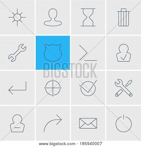 Vector Illustration Of 16 UI Icons. Editable Pack Of Switch Off, Maintenance, Remove User And Other Elements.