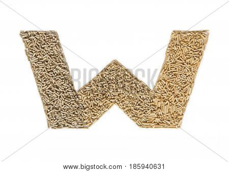Alphabet made of wood pellets - letter W. Pelleted compound feed Isolated on white background