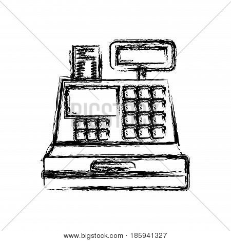 monochrome blurred silhouette of cash register vector illustration