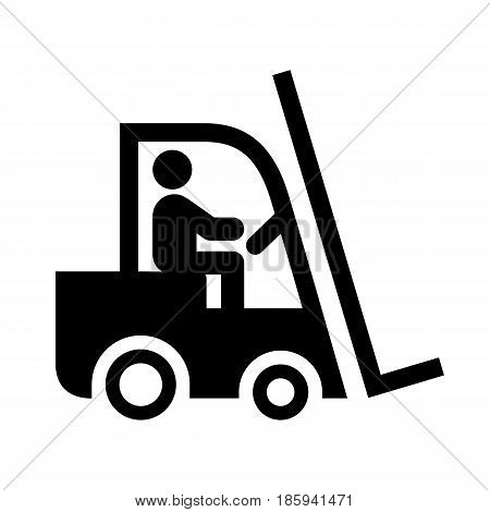 forklift, icon isolated on white background flat style.