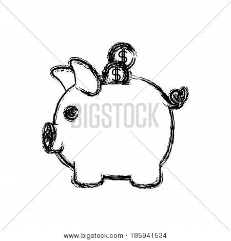 monochrome blurred silhouette of moneybox in shape of pig with coins vector illustration