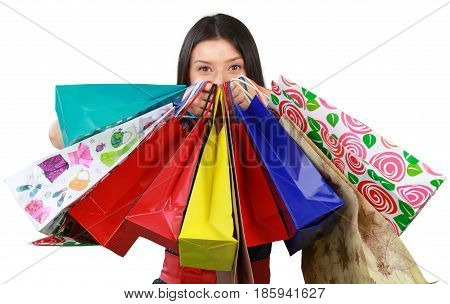 Beuty Young Woman with Shopping Bag - Isolated