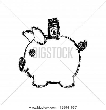 monochrome blurred silhouette of moneybox in shape of pig with dollar bill vector illustration
