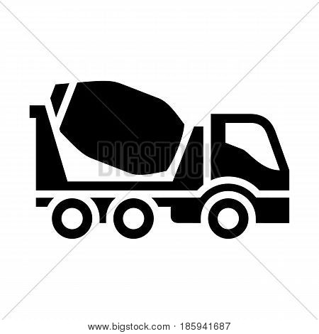 concrete mixer, icon isolated on white background flat style.