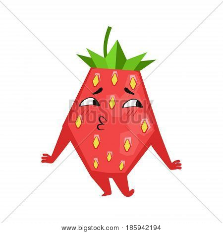 Shy funny strawberry. Cute cartoon emoji character vector Illustration isolated on a white background