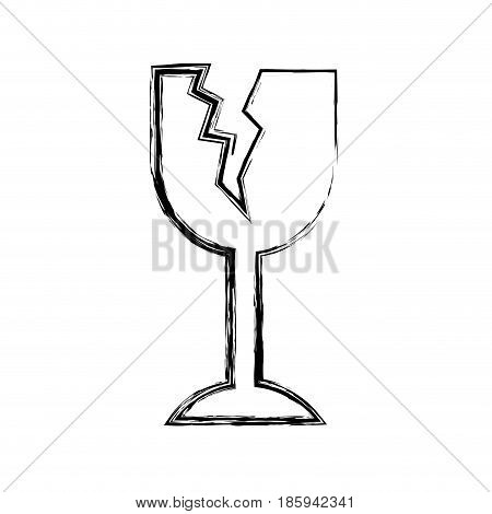 monochrome blurred silhouette of fragile packaging symbol broken wine glass vector illustration