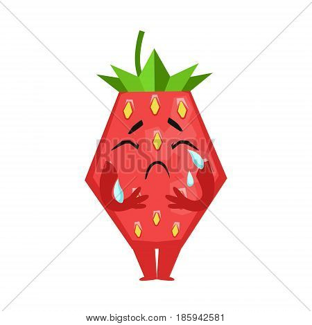 Unhappy crying strawberry. Cute cartoon emoji character vector Illustration isolated on a white background