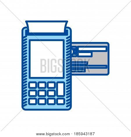blue contour of payment terminal with credit card vector illustration