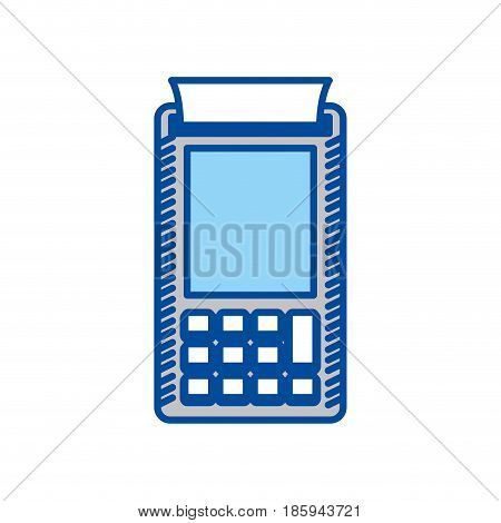 blue contour of payment terminal vector illustration