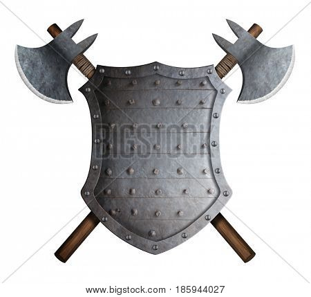 metal spiked shield and two crossed battle axes 3d illustration