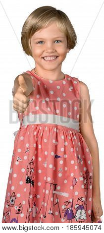 Portrait of a Little Girl Showing Thumbs Up