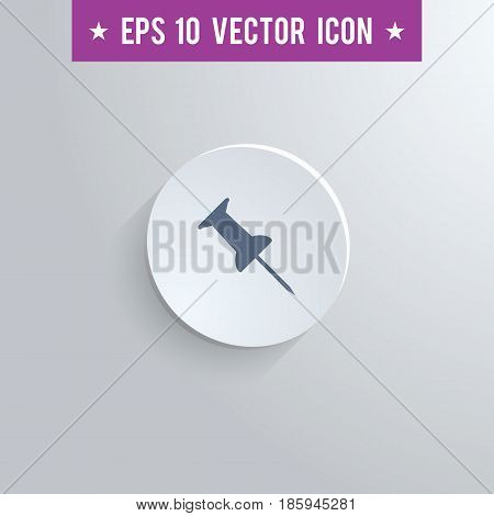 Stylish pushpin icon. Blue colored symbol on a white circle with shadow on a gray background. EPS10 with transparency.