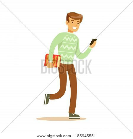 A young man walking and holding a book and a smartphone in his hands. Student lifestyle colorful character vector Illustration isolated on a white background