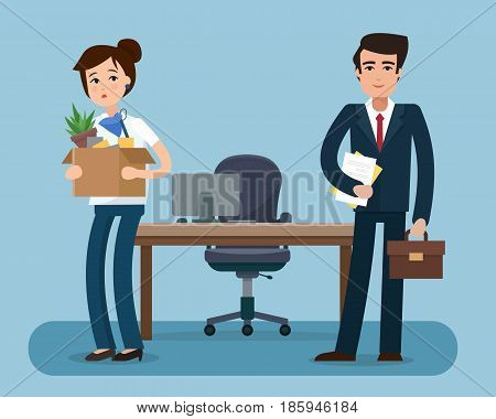 Dismissed office worker with box with office things. Fired from job. New employee with suitcase. Flat style vector illustration.