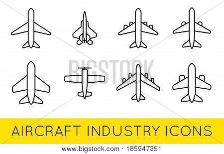 Aircraft or Airplane Icons Set Collection Vector Silhouette Set Colletion