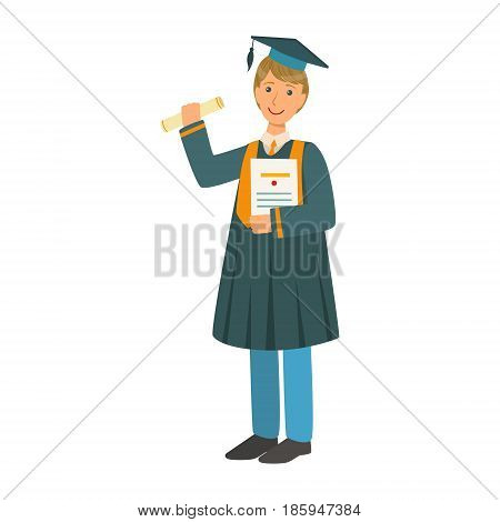 Boy in mantle gown and academic square cap holding diploma scroll. Celebrating graduation ceremony concept. Colorful cartoon illustration isolated on a white background