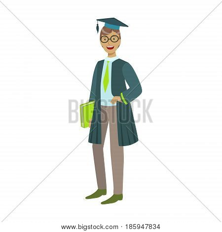 Cheerful graduate guy student in mantle with green book. Celebrating graduation ceremony concept. Colorful cartoon illustration isolated on a white background