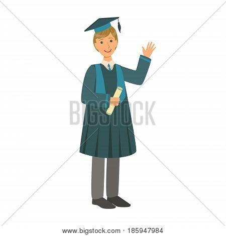 Graduate boy in the mantle holding graduation diploma scroll. Celebrating graduation ceremony concept. Colorful cartoon illustration isolated on a white background