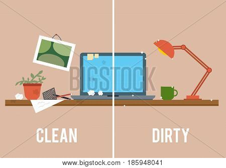 Dirty and clean work table. Creative mess. Disorder in the interior. Table before and after cleaning. Flat style vector illustration.