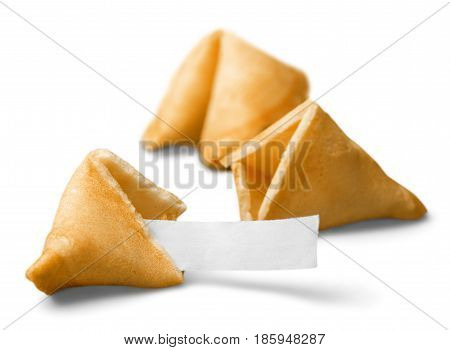 Broken Fortune Cookie with Blank Piece of Paper