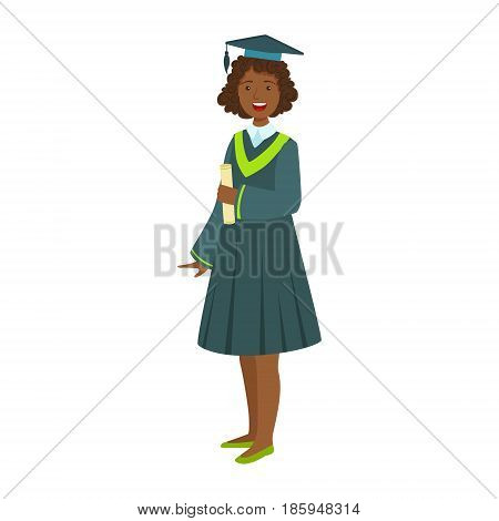 Young girl in student mantle holding diploma. Celebrating graduation ceremony concept.Colorful cartoon illustration isolated on a white background
