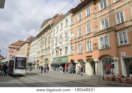 GRAZ, AUSTRIA - MARCH 19, 2017: City life at Herrengasse street in Graz the capital of Styria Austria