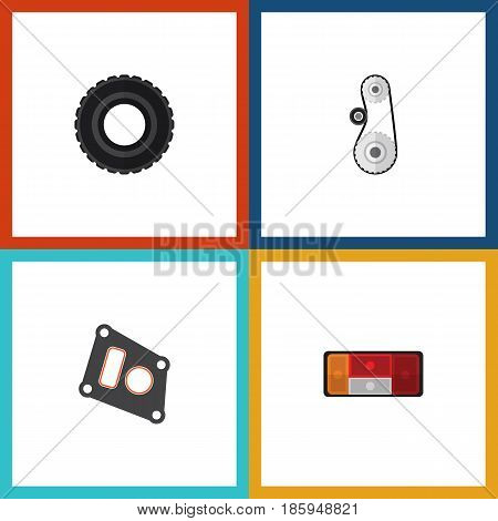 Flat Auto Set Of Headlight, Gasket, Wheel And Other Vector Objects. Also Includes Tire, Drive, Cambelt Elements.