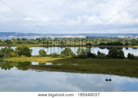 Beautiful landscape with islands on Volga river and a boat, Tatarstan, Russia