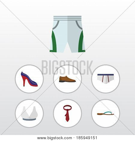 Flat Garment Set Of Male Footware, Beach Sandal, Heeled Shoe Vector Objects. Also Includes Bra, Footware, Underclothes Elements.