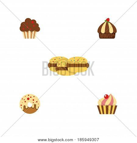 Flat Cake Set Of Biscuit, Muffin, Doughnut And Other Vector Objects. Also Includes Sweetmeat, Biscuit, Confectionery Elements.