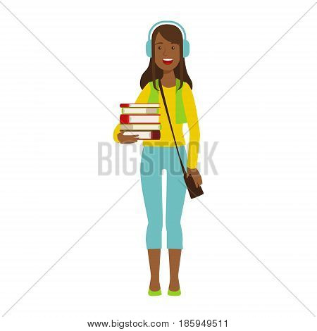Happy girl student in headphones holding stack of books. Colorful cartoon illustration isolated on a white background