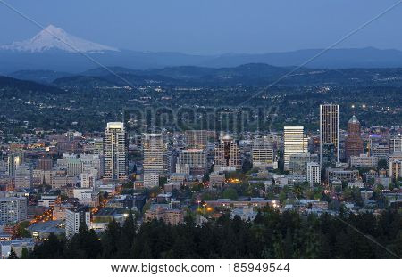 Portland Oregon skyline at dusk from Pittock mansion.