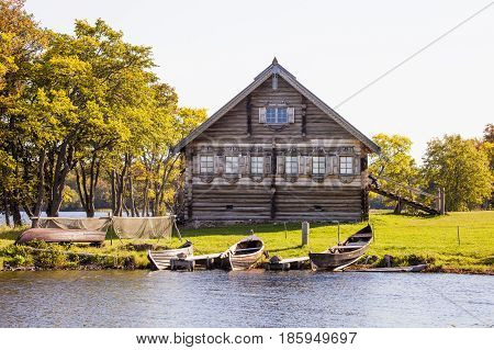 House of a fisherman. Karelia Russia. Museum Architecture on the island of Kizhi.