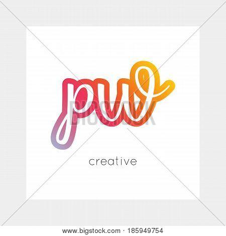 PW logo, vector. Useful as branding, app icon, alphabet combination, clip-art.