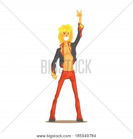 Rocker man showing rock and roll gesture, rock star colorful character vector Illustration isolated on a white background