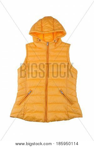 Yellow female vest isolated on white background.